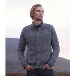 Ribbed Cardigan with saddle shoulders