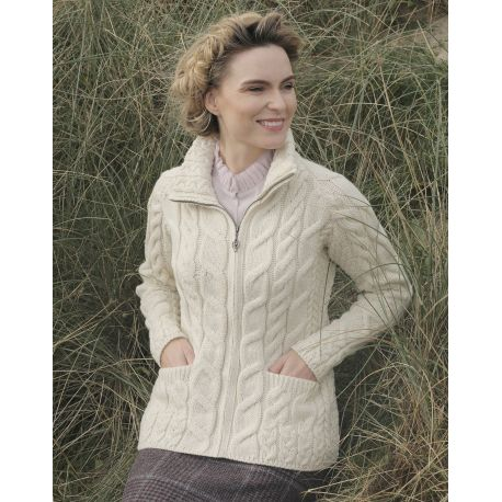 Aran Woolen Mills Strickjacke - Strickjacke aus Supersoft Merinowolle