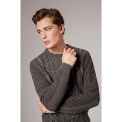 Fisherman Herren Pulli - Plated Aran Crew Neck Sweater