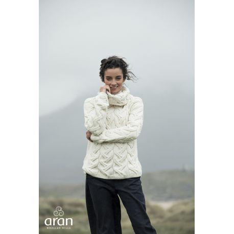Aran Woolen Mills Damen - Rollkragen Pulli aus Supersoft Merinowolle